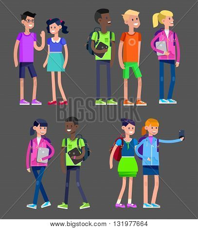 Vector detailed character flat design children students boy and girl. Kids  smiling holding Gadgets and backpacks. Primary or elementary school
