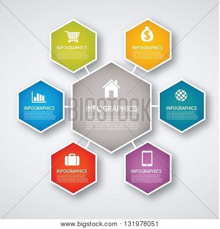 Vector Illustration:info graphics - colorful graph, hexagon