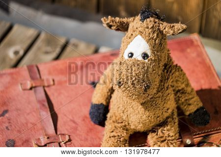 Top down view of sad looking cute worn out horse plush toy sitting on old red leather suitcase