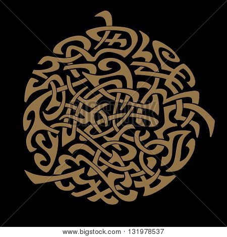Abstract vector ornament. Sun. Tattoo. Isolated on back background. Gold.
