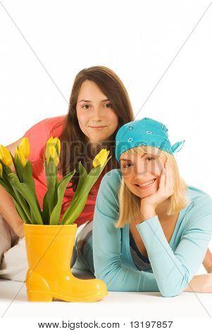 Zwei schöne Mädchen, isolated on white background