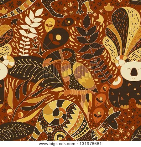 Seamless wallpaper. Vector tropical background. Floral pattern