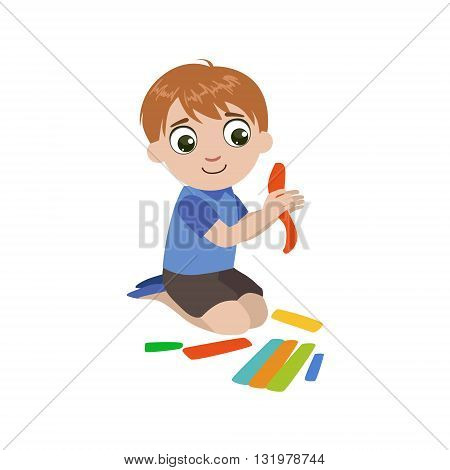 Boy Preparing The Putty For Craft Colorful Simple Design Vector Drawing Isolated On White Background