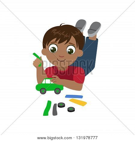 Boy Sculpting A Car Colorful Simple Design Vector Drawing Isolated On White Background
