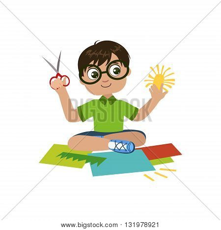Boy In Glasses Preparing Details For Applique Colorful Simple Design Vector Drawing Isolated On White Background