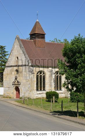 Theuville France - june 4 2015 : the picturesque saint Claude chapel in summer