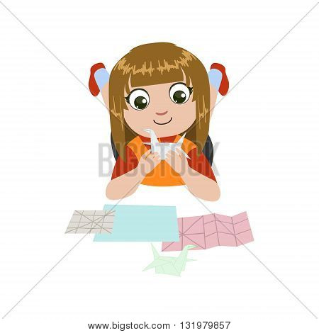 Girl Doing Origami Crane Colorful Simple Design Vector Drawing Isolated On White Background