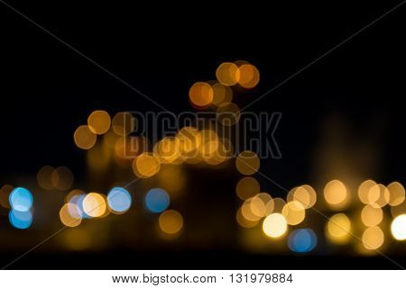Abstract Colorful Blur Bokeh Light In Night Background