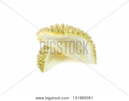 durian shell , Thorns of durian on white background