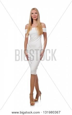 Blondie in elegant dress isolated on white