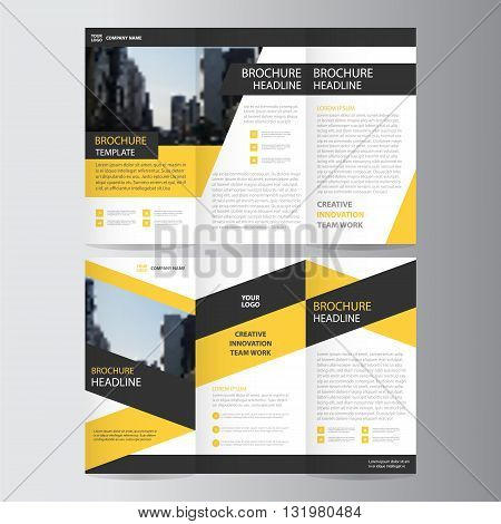 Yellow Black triangle business trifold Leaflet Brochure Flyer report template vector minimal flat design set, abstract presentation layout templates a4 size