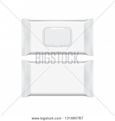 Blank packaging wet wipes on white background. Foil cosmetic bag. Package template. Wet wipes bag. Realistic 3d mockup. Plastic pack template. Wet wipes template. Ready for design. Vector illustration. Wet wipes isolated. Cosmetic wet wipes plastic packag