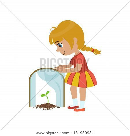 Girl Protecting A Sprout Simple Design Illustration In Cute Fun Cartoon Style Isolated On White Background