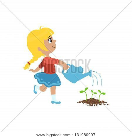 Girl Watering Flower Bed Simple Design Illustration In Cute Fun Cartoon Style Isolated On White Background