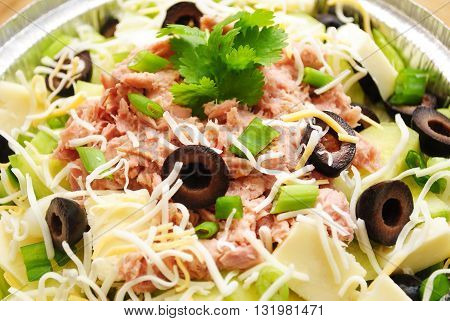 Fresh Salad with Canned Tuna Garnished with Fresh Parsley