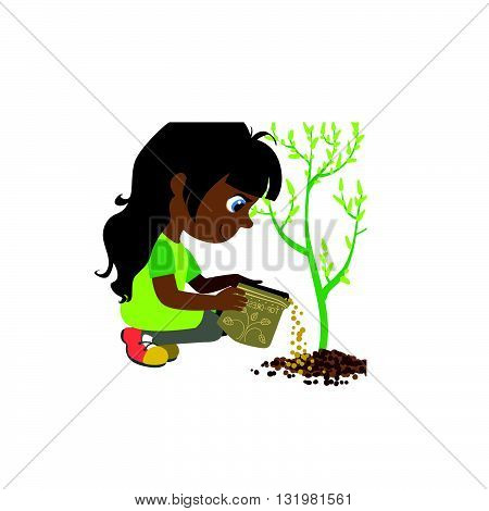 Girl Applying The Fertiliser Colorful Simple Design Vector Drawing Isolated On White Background