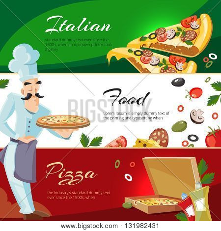 Vector Cartoon web banners with ingridients of pizza. Tomato, cheese and mushrooms. Cook offers pizza on tray