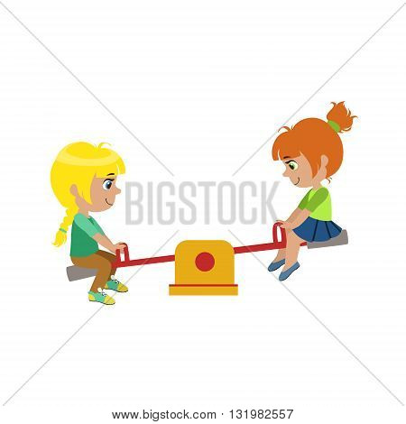 Girls On Seesaw On Playground Colorful Simple Design Vector Drawing Isolated On White Background