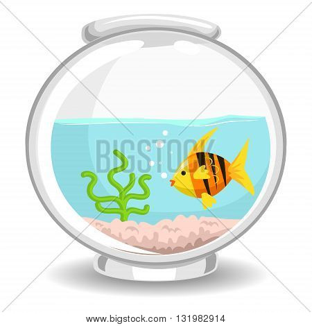 Vector Illustration of Fish swimming inside the Bowl
