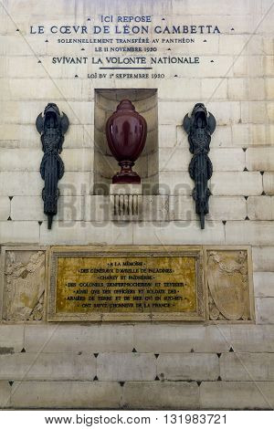 PARIS, FRANCE - MAY 14, 2013: This is the urn with the heart of Leon Gambetta a French politician in the crypt of the Pantheon in Paris