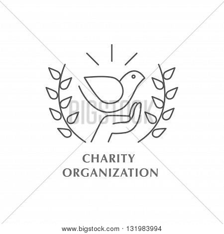 Vector charity organization logo isolated on white background. Artistic simple design concept. Flat logo for charity organization, orphanage, children home, assistance to children, clinic.