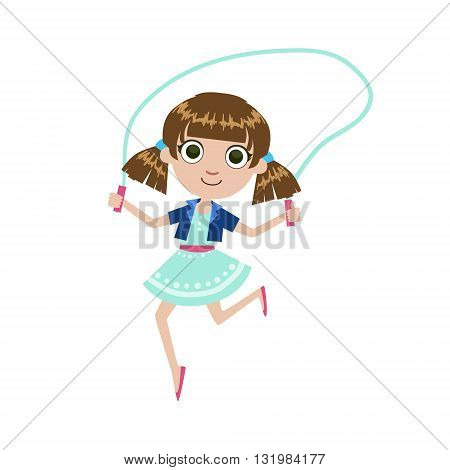 Girl With The Skipping Rope Simple Design Illustration In Cute Fun Cartoon Style Isolated On White Background