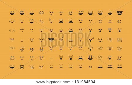 Emoticon vector without outline. Emoji vector. Smile icon set.  Emoticon icon web - stock vector.