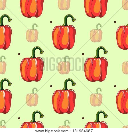 Seamless pattern made from hand drawn red peppers and dark circles on green background. Vector illustration.