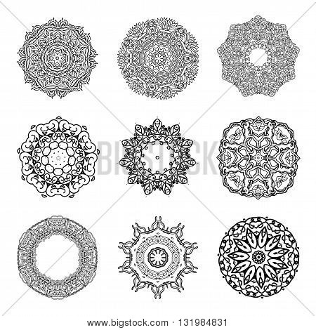 Set of Mandalas. Round Ornament Indian or Islamic Pattern. Vector Iluustration. Isolated on white. Vector set of circular ornate design elements.