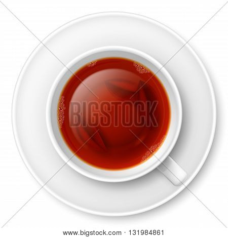 Cup of black tea with tea leaves at the bottom