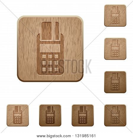 Set of carved wooden POS terminal buttons in 8 variations.