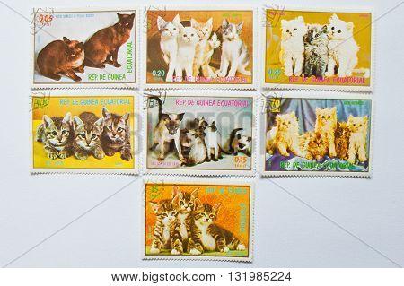 Uzhgorod, Ukraine - Circa May, 2016: Collection Of Postage Stamps Printed In Equatorial Guinea Repub