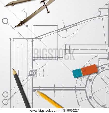 Vector technical blueprint of mechanism. Engineer illustration. Set of corporate identity templates. Architecture Background