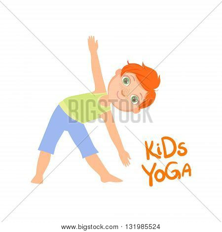 Boy In Triangle Pose Bright Color Cartoon Childish Style Flat Vector Drawing On White Background