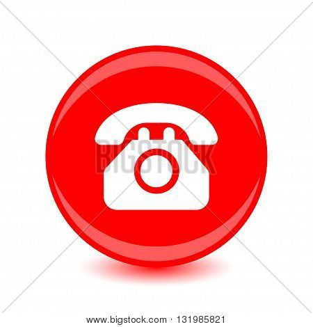 Vector phone icon white silhouette on a red background.