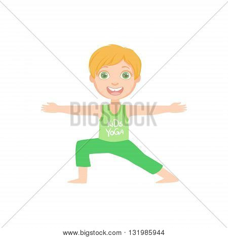 Happy Boy Doing Yoga Asana Bright Color Cartoon Childish Style Flat Vector Drawing On White Background