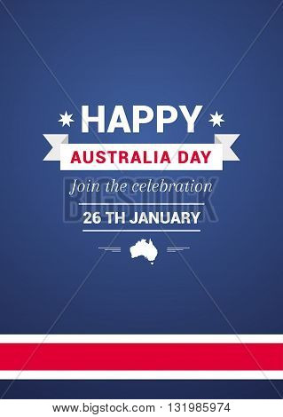 Card in Australia Day in the color of the flag with ribbon.