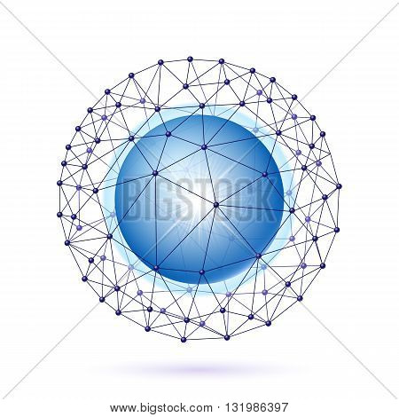 Bright blue ball inside the internet grid on a white background