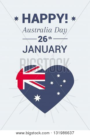 Typography inscription Happy Australia Day on 26 January. Big heart with the national flag of Australia. A bright illustration for print.