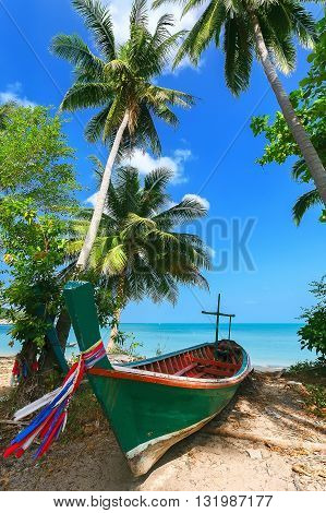 Wooden fishing boat on the shore under the palm trees.