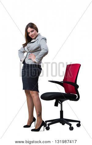 Businesswoman sitting isolated on white background