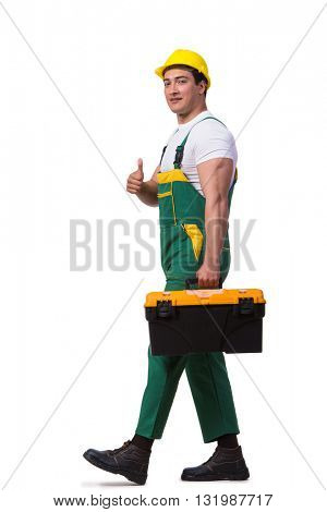 Man with toolbox isolated on the white background