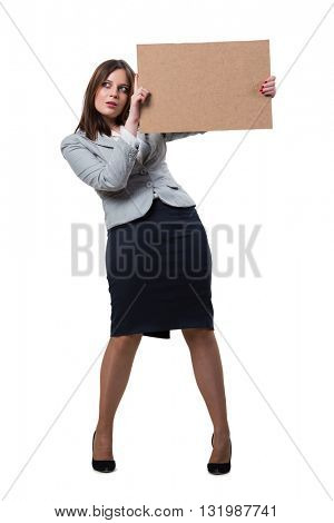 Businesswoman with blank message on white