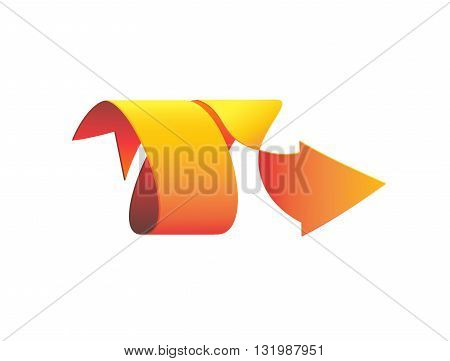 Arrow pointer 3D spiral-shaped isolated on white background