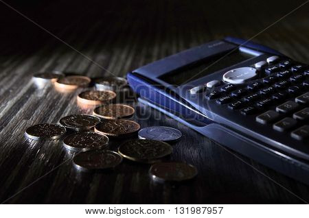 A few coins on the floor next to calculator