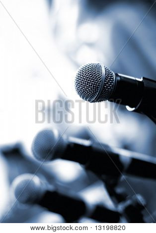 Microphone on abstract blurred background (shallow DoF)