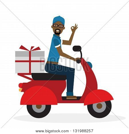 Delivery man on scooter. Fast transportation. Isolated african american cartoon character on white background. Postman, courier with parcel on motorbike.