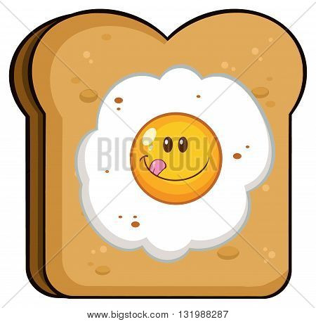 Toast Bread Slice With Smiling Egg Cartoon Character
