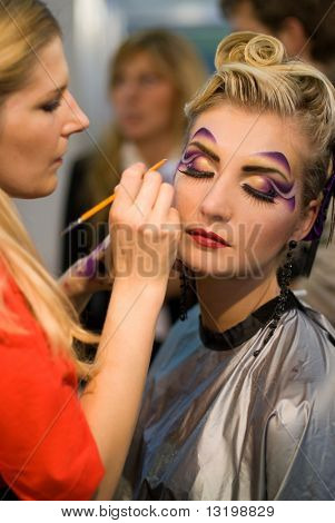 Make-up artist at work