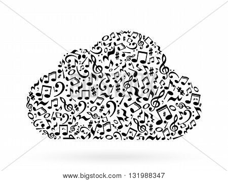 Cloud made of white notes on white background. Cloud made of notes. Musical art. Cloud shape decoration.
